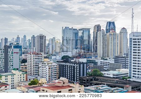 Panama City, Panama - November 2, 2017: Skyline Of Panama City On A Cloudy Day With Modern Buildings