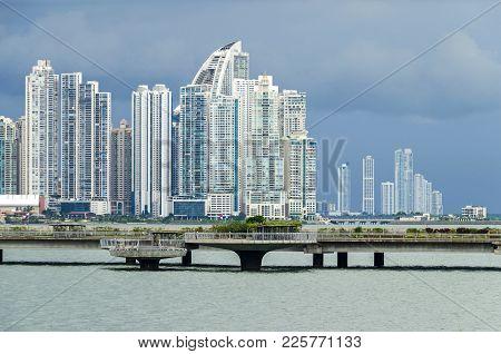 Panama City, Panama - November 3, 2017: Skyline Of Panama City On A Cloudy Day With Modern Buildings