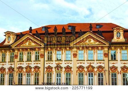 Prague, Czech Republic - December 31, 2017: Narodni Galerie. View From Old Town, Prague, Bohemia Cze