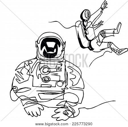 Astronauts In Spacesuits In Space. Illustration Inspired By Modern Space Odyssey. Continuous Line Mi