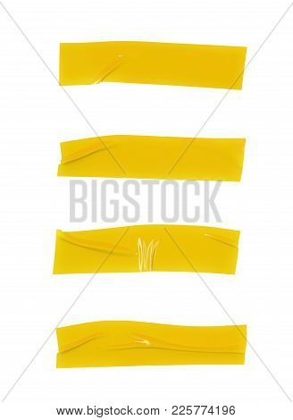 Single Piece Of Insulating Tape Isolated Over The White Background, Set Of Four Different Foreshorte