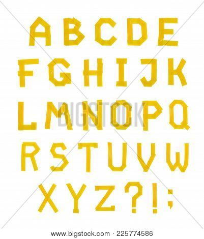 Abc Alphabet Letter Set Made Of Insulating Tape, Isolated Over The White Background