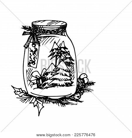 Illustration Of Artistic Christmas Doodle Icon. Jar With Christmas Tree. New Year Vintage Design For