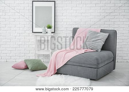 Beautiful room interior with modular sofa section poster