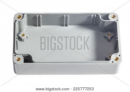 Open Waterproof Plastic Junction Box Isolated On White. With Place For Text.