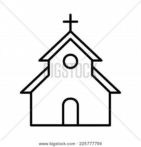 Church Vector Icon. Flat Simple Outline Icon. Easter Concept.