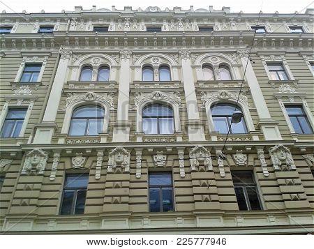 Facade Of An Art Nouveau Building In Riga, Latvia