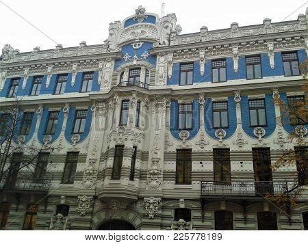 Beautiful Art Nouveau Building With Blue Facade In Riga, Latvia