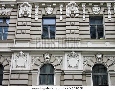 Close Up Of An Art Nouveau Building In Riga, Latvia