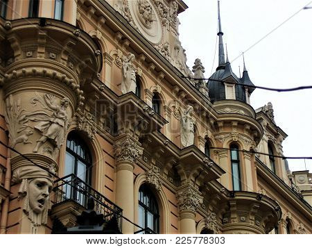 Close Up Of An Art Nouveau Building With Figurines In Riga, Latvia
