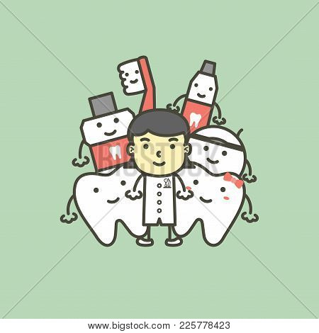 Female Dentist And Best Friend Of Healthy Family Tooth Have Toothbrush, Toothpaste, Mouthwash And Fl