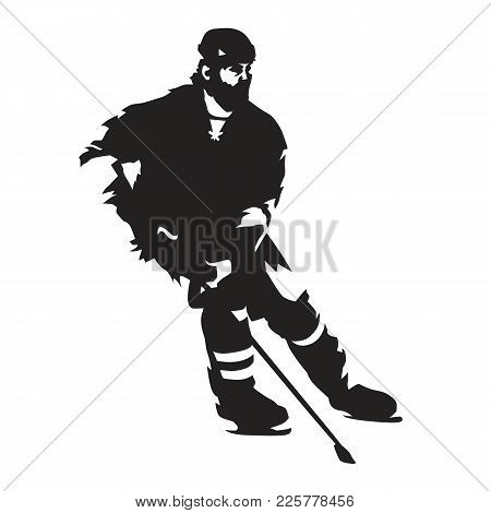Ice Hockey Player Skating, Abstract Isolated Vector Silhouette. Winter Team Sport. Active People