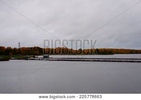 Autumn Landscape - The River With The Forest In The Fall. Beautiful Views Of Autumn Landscape - The