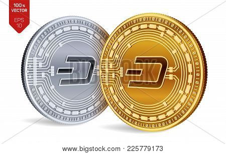 Dash. Crypto Currency. 3d Isometric Physical Coins. Digital Currency. Golden And Silver Coins With D