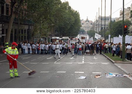 Clean-up After The Demonstration - Madrid, Spain, 29 September 2007