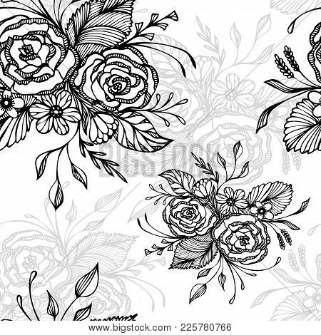 Seamless Pattern With Flowers Bouquet   In Black On White In Retro Style For Decoupage Or For Wallpa