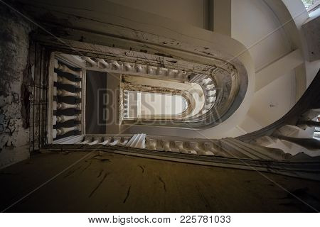 Bottom View Of Old Vintage Decorated Staircase In Abandoned Mansion.