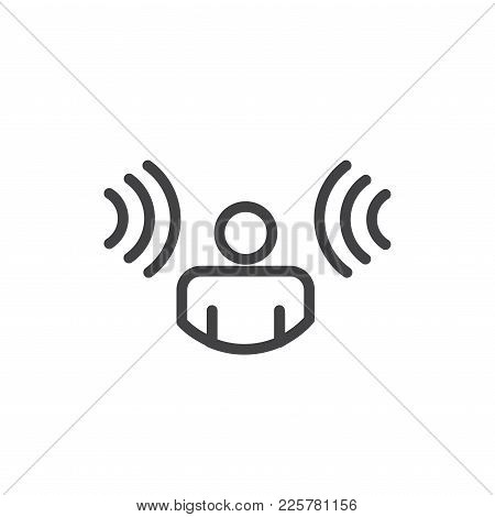 Person Hearing Soundwaves Coming In From Both Sides - Voice Recognition Icon