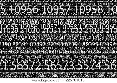 Abstract Background Image Of A Set Of Successive Five-digit White Numbers Of Different Sizes On A Bl