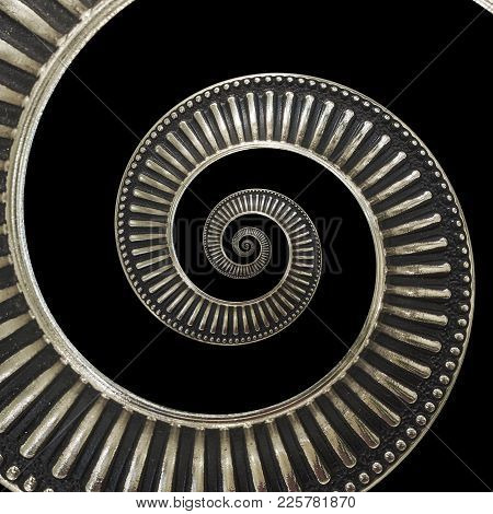Isolated on black metal abstract spiral background pattern fractal. Metallic background, repetitive pattern. Metal spiral decorative element. Twisted distorted metal staircase background fractal poster