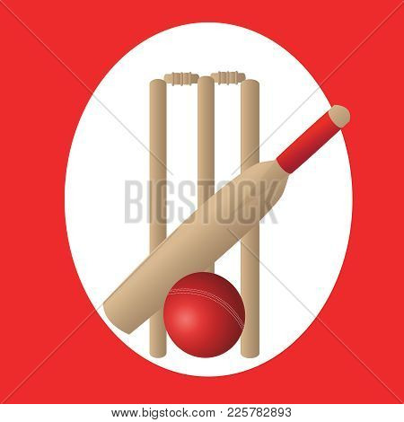 Cricket Set With Bat Ball And Wickets And Red Oval Background