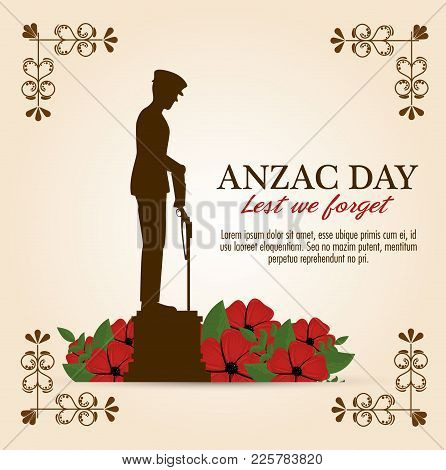 Anzac Day Poster With Soldier Standing Guard Vector Illustration Graphic Design