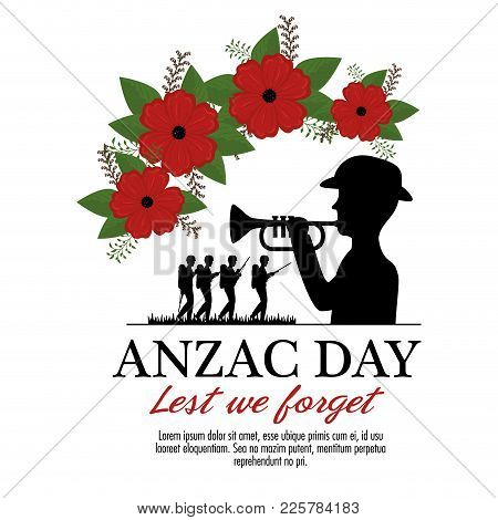 Anzac Day Background With Soldiers Blowing Trumpet With Text Lest We Forget Vector Illustration Grap