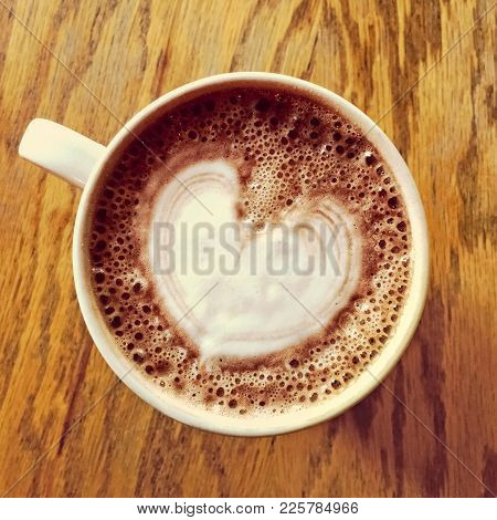 Heart Drawing On A Cup Of Tasty Hot Chocolate.