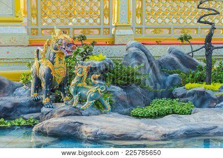 Bangkok, Thailand - December 25, 2017: Creature Sculpture, To Decorate The Royal Crematorium Of King