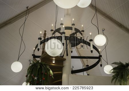 Circular Light Bulb Setup Decoration Interior, Stock Photo