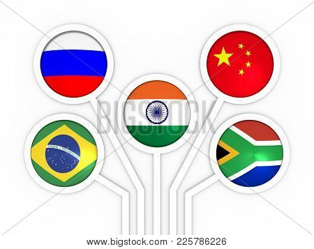Brics - Association Of Five Major Emerging National Economies Members Flags. Trade Union. Global Tea