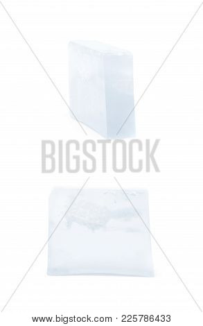 Handmade Semi-transparent Bar Of Soap Isolated Over The White Background, Set Of Two Different Fores
