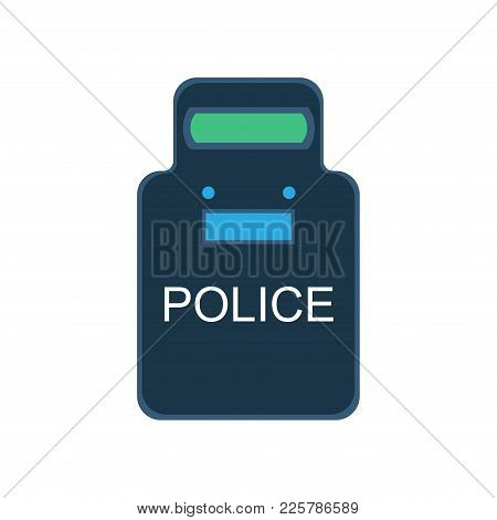 Police Swat Shield Vector Illustration Icon Guard Uniform Security Flat. Protection Bulletproof Vest