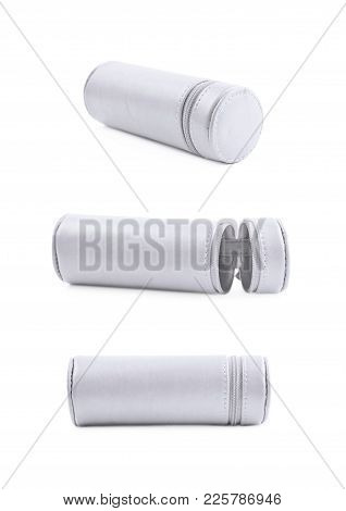 Cylindrical Pencil Case With The Zipper Lock Isolated Over The White Background, Set Of Three Differ