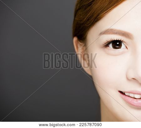 Closeup Half Young Woman Face With Beautiful Eyes