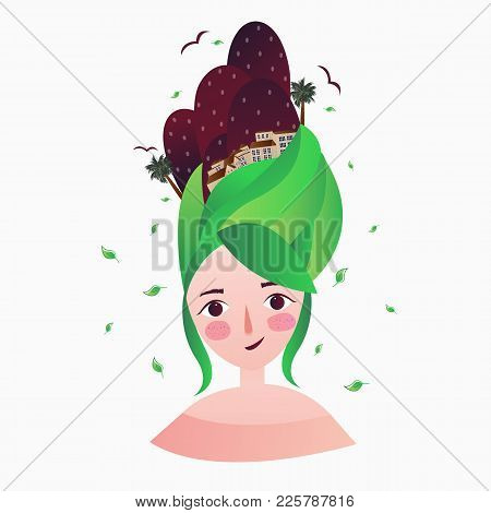 A Beautiful Girl With Green Hair And Woman Hair Style Dreaming Thinking Imagination Vector