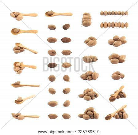 Set Of Multiple Pecan Nut Compositions Isolated Over The White Background