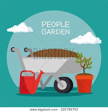 Gardening Elements And Tools Vector Illustration Graphic Design