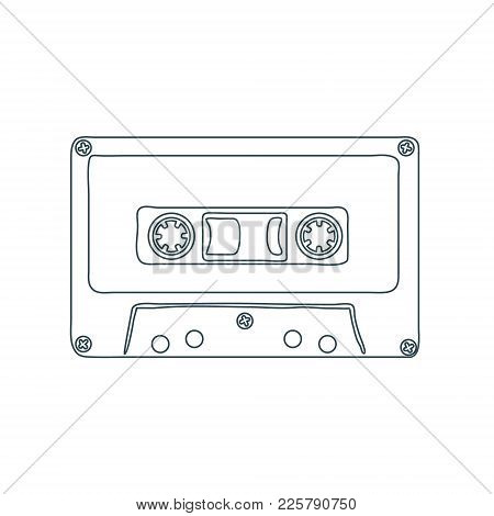 Audio Cassette Tape Isolated On White Background. Vector Illustration