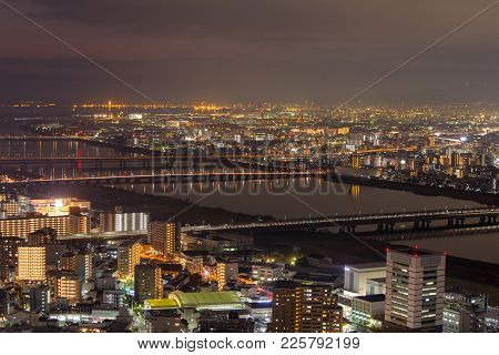 Image Of Osaka Nightscape From Umeda Sky Building