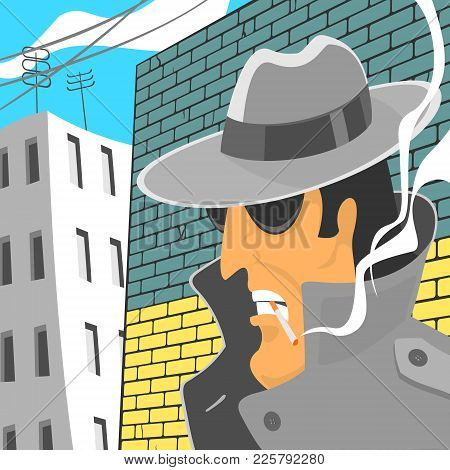 Vector Illustration Spy In Hat With Cigarette