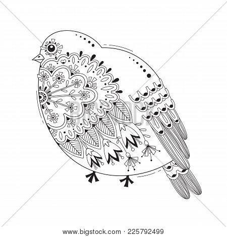 Bird With Patterns And Flowers. Tattoo, Body Painting Design Element. Vector Illustration.