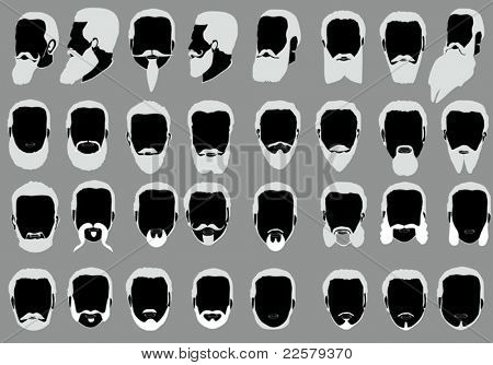 illustration with men beard collection isolated on grey background