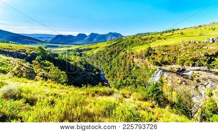 Panorama View Of Lisbon Falls And The Lisbon River Valley Near Graskop On The Panorama Route In Mpum