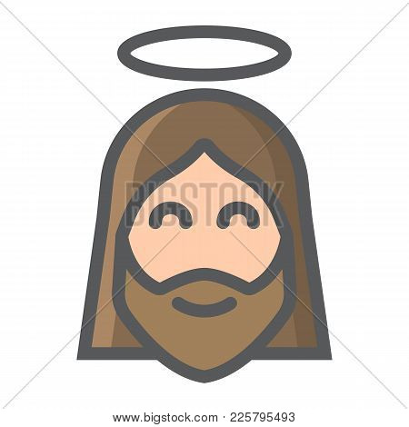 Jesus Filled Outline Icon, Easter And Holiday, Christ Sign Vector Graphics, A Colorful Line Pattern
