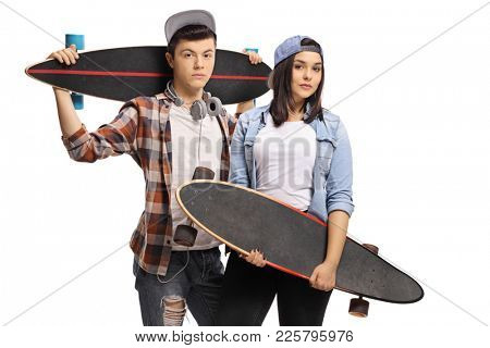 Teenage skaters with longboards isolated on white background