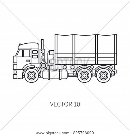 Line Flat Vector Icon Construction Machinery Truck Wagon. Industrial Retro Style. Corporate Cargo De