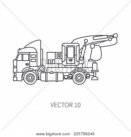 Line Flat Vector Icon Construction Machinery Truck Excavator. Industrial Retro Style. Corporate Carg