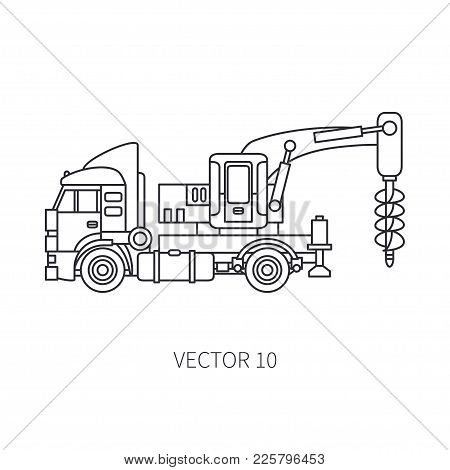 Line Flat Vector Icon Construction Machinery Truck Boer, Well. Industrial Retro Style. Corporate Car