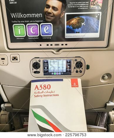 Sydney / Australia - October 26 2017: Airbus A380 Safety Instructions On Board With Seat Back Screen